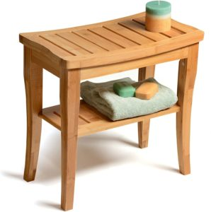 Bamboo Shower Seat Bench with Shelf - Wooden Bathroom Seat Stool