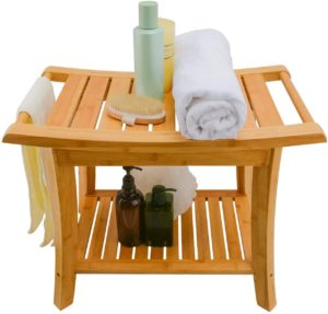 Zhuoyue Bamboo Waterproof Shower Bath Seats for Adults Seniors Disabled