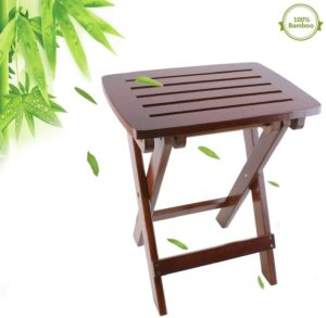 "Cyanbamboo Bamboo Bench 17.7"" Portable Folding Stools"