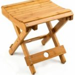 100% Natural Bamboo Folding Stool For Shaving Shower