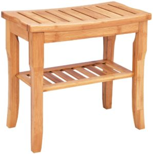 Giantex Bamboo Shower Bench Seat with Storage Shelf
