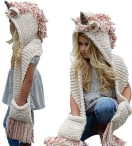 Umiwe Union Hooded Hat-Scarf, Cute Shawls Earflap Caps- Pink