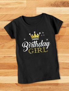 1. Birthday Girl Party Shirt Princess Crown Girls Fitted T-Shirt
