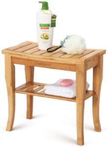 OasisSpace Chair with Storage Shelf Wood Spa Bath Organizer Seat Stool